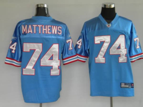 Oilers #74 Bruce Matthews Baby Blue Stitched NFL Jersey | Cheap ...